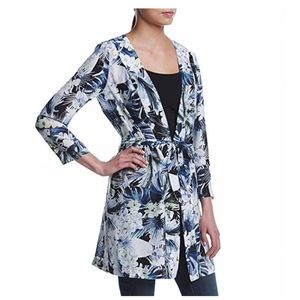 Tie Accent Tropical Blues Kimono Tunic by Kensie